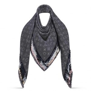Louis Vuitton LV Women Party Monogram Shawl Triangle Scarf with Luxurious Silk and Wool