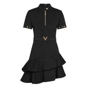 Louis Vuitton LV Women Short-Sleeved Asymmetric Dress With Frills-Black