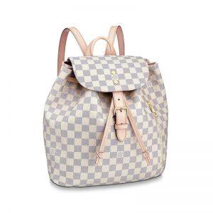 Louis Vuitton LV Women Sperone Backpack in Damier Azur Canvas-Grey