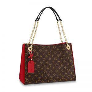 Louis Vuitton LV Women Surène MM Handbag in Monogram Canvas and Grained Calf Leather