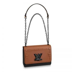 Louis Vuitton LV Women Twist MM Chain Bag in Cowhide Leather and Calfskin-Brown