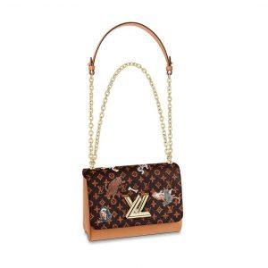 Louis Vuitton LV Women Twist MM Handbag in Classic Monogram Canvas-Brown