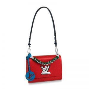 Louis Vuitton LV Women Twist MM Handbag in Epi Leather and Signature LV Twist Lock