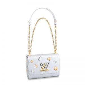 Louis Vuitton LV Women Twist MM Handbag in Grained Epi Leather and Monogram
