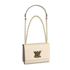 Louis Vuitton LV Women Twist MM Handbag in Quartz Epi leather-Beige