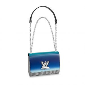 Louis Vuitton LV Women Twist MM Handbag in Radiant Blues and Pop-Inspired Stripes