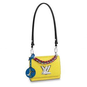 Louis Vuitton LV Women Twist PM Handbag in Epi Leather and Signature LV Twist Lock
