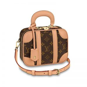 Louis Vuitton LV Women Valisette BB Handbag in Monogram Canvas with Natural Cowhide Leather-Brown