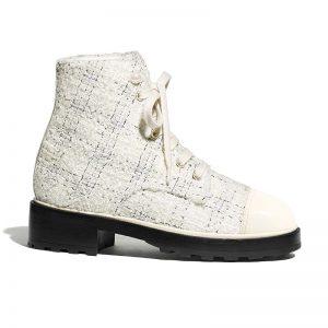 Chanel Women Ankle Boots in Tweed & Calfskin 3.6 cm Heel-Beige