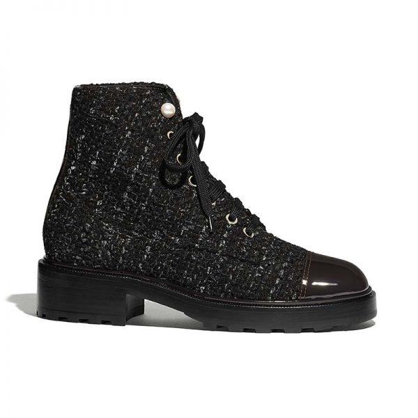 Chanel Women Ankle Boots in Tweed & Calfskin 3.6 cm Heel-Black