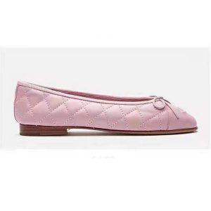 Chanel Women Ballerinas in Aged Calfskin Leather-Pink