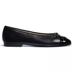 Chanel Women Ballerinas in Lambskin & Patent Calfskin-Black