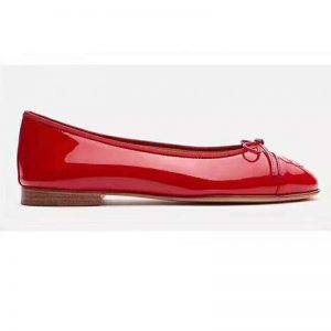 Chanel Women Ballerinas in Patent Calfskin Leather-Red