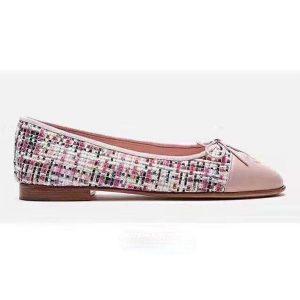 Chanel Women Ballerinas in Tweed Fabrics-Pink