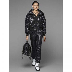 Chanel Women Coated Canvas Blouson Down Coat Jacket-Black
