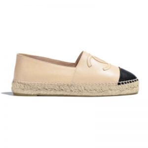 Chanel Women Espadrilles in Lambskin Leather-Beige