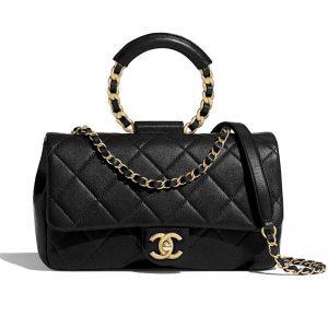 Chanel Women Flap Bag in Lambskin & Gold Metal-Black