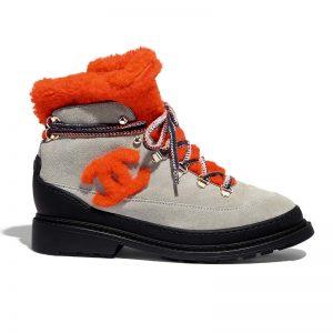 Chanel Women Lace-Ups Boots in Suede Calfskin & Shearling 3 cm Heel-Orange