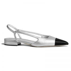 Chanel Women Slingbacks in Metallic Lambskin & Satin-Silver