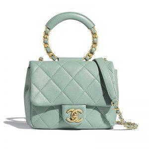 Chanel Women Small Flap Bag in Lambskin & Gold Metal-Blue