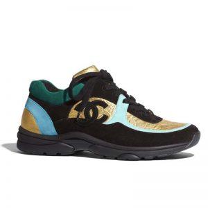 Chanel Women Velvet Calfskin & Mixed Fibers Sneakers-Gold