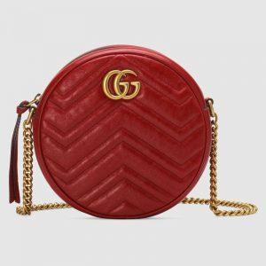 Gucci GG Women GG Marmont Mini Round Shoulder Bag in Matelassé Chevron Leather-Red