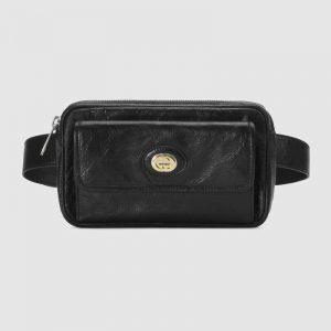 Gucci GG Men Leather Belt Bag in Black Soft Leather
