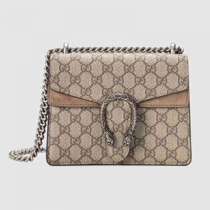 Gucci GG Women Dionysus GG Supreme Mini Bag in Tiger Head Spur-Sandy