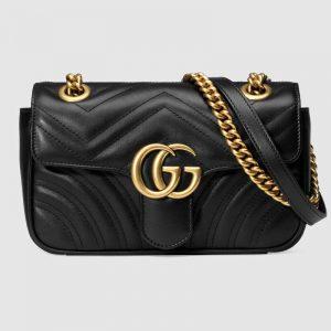 Gucci GG Women GG Marmont Matelassé Mini Bag in Matelassé Chevron Leather-Black
