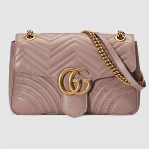 Gucci GG Women GG Marmont Medium Matelassé Shoulder Bag in Matelassé Chevron Leather-Pink