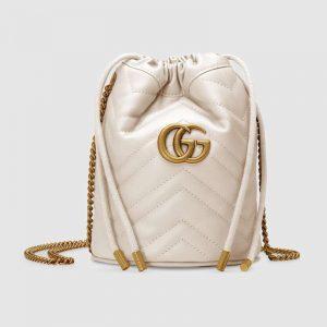 Gucci GG Women GG Marmont Mini Bucket Bag in Matelassé Chevron Leather-White