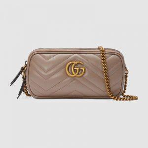 Gucci GG Women GG Marmont Mini Chain Bag in Matelassé Chevron Leather-Pink