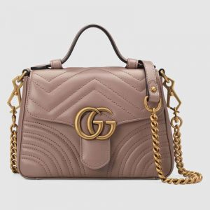 Gucci GG Women GG Marmont Mini Top Handle Bag in Matelassé Chevron Leather-Pink