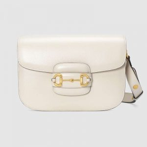 Gucci GG Women Gucci 1955 Horsebit Shoulder Bag in Textured Leather-White
