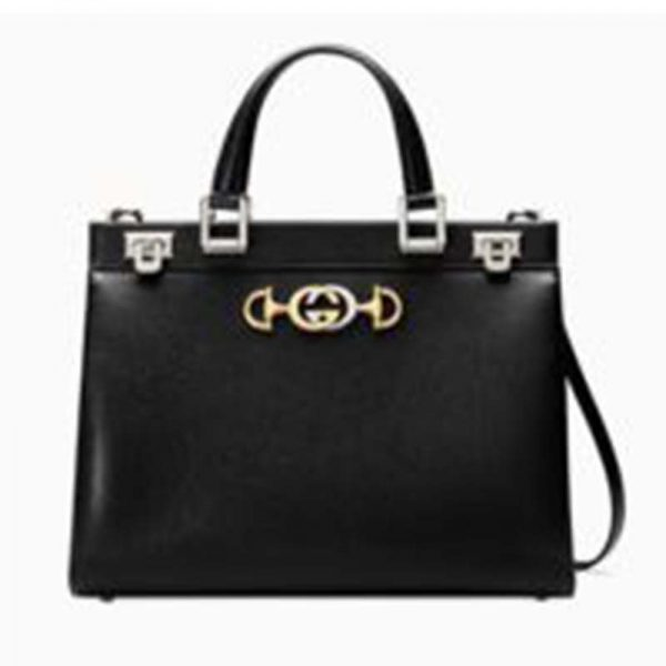 Gucci GG Women Gucci Zumi Grainy Leather Medium Top Handle Bag-Black