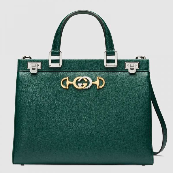 Gucci GG Women Gucci Zumi Grainy Leather Medium Top Handle Bag-Green