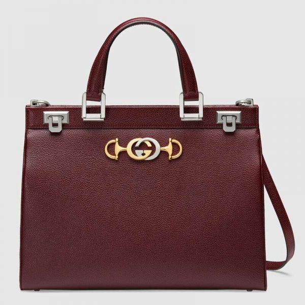 Gucci GG Women Gucci Zumi Grainy Leather Medium Top Handle Bag-Maroon
