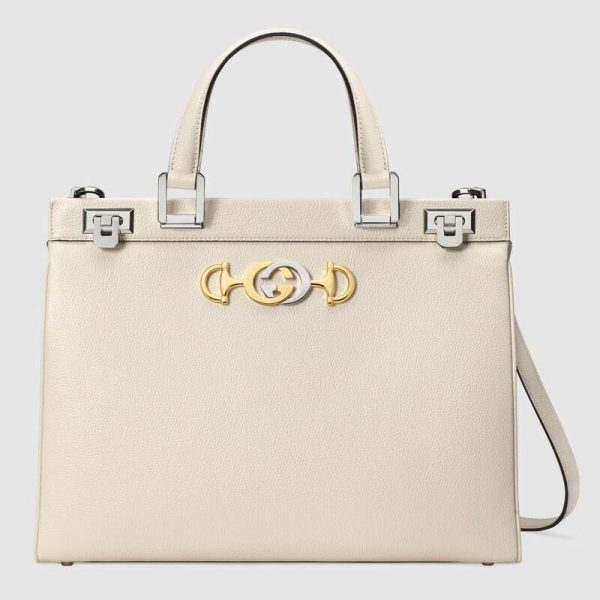 Gucci GG Women Gucci Zumi Grainy Leather Medium Top Handle Bag-White