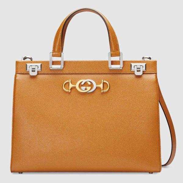 Gucci GG Women Gucci Zumi Grainy Leather Medium Top Handle Bag-Yellow