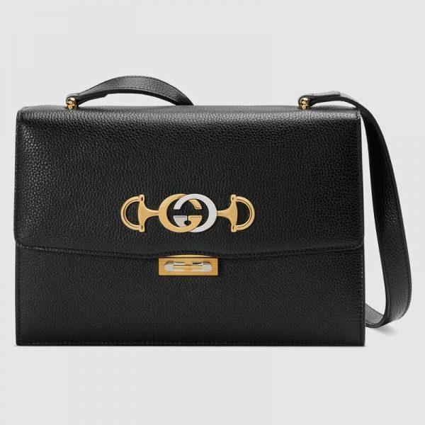 Gucci GG Women Gucci Zumi Grainy Leather Small Shoulder Bag-Black