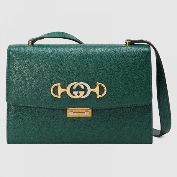 Gucci GG Women Gucci Zumi Grainy Leather Small Shoulder Bag-Green