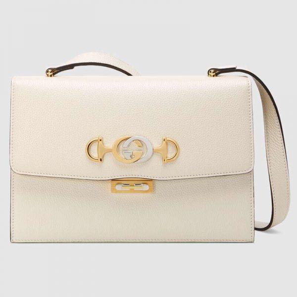 Gucci GG Women Gucci Zumi Grainy Leather Small Shoulder Bag-White