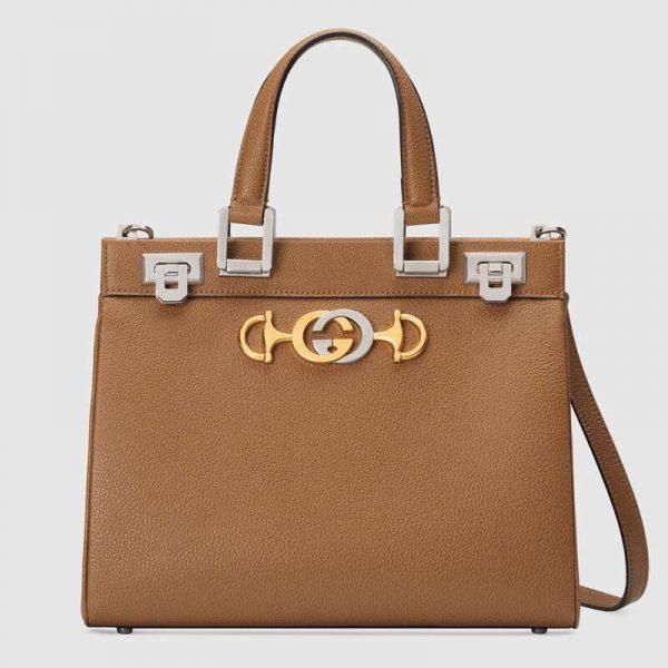 Gucci GG Women Gucci Zumi Grainy Leather Small Top Handle Bag-Brown
