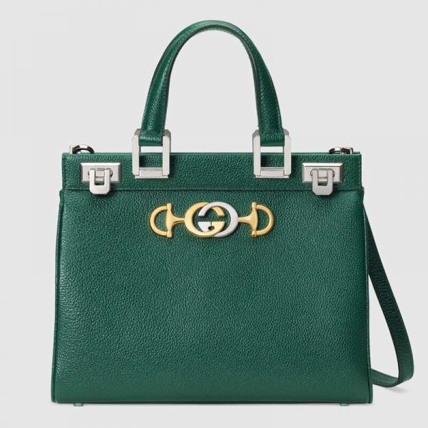Gucci GG Women Gucci Zumi Grainy Leather Small Top Handle Bag-Green