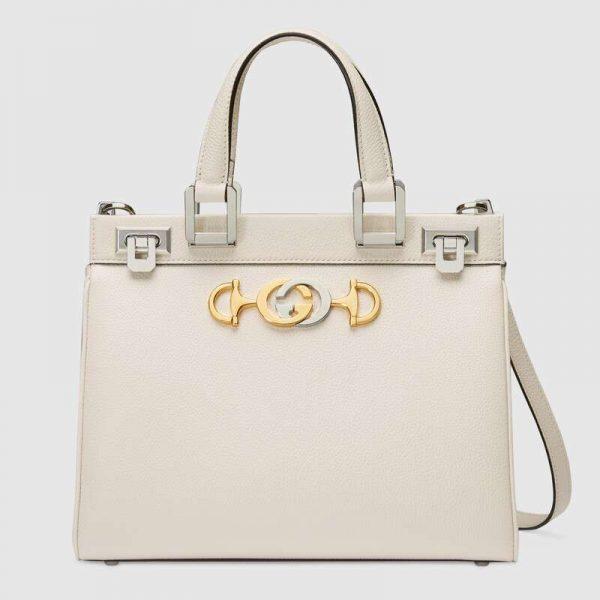 Gucci GG Women Gucci Zumi Grainy Leather Small Top Handle Bag-White