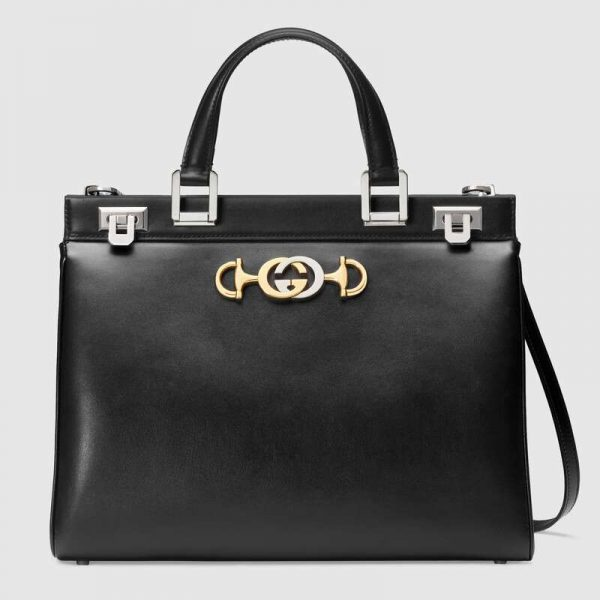 Gucci GG Women Gucci Zumi Smooth Leather Medium Top Handle Bag-Black