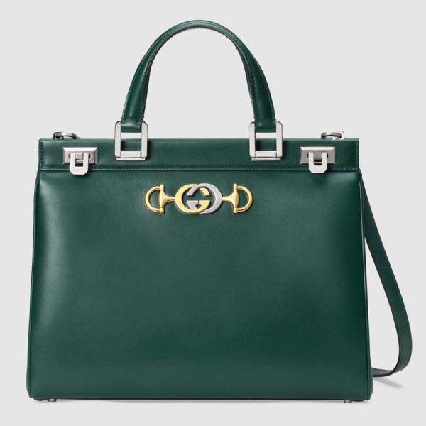 Gucci GG Women Gucci Zumi Smooth Leather Medium Top Handle Bag-Green