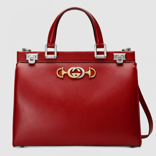 Gucci GG Women Gucci Zumi Smooth Leather Medium Top Handle Bag-Red