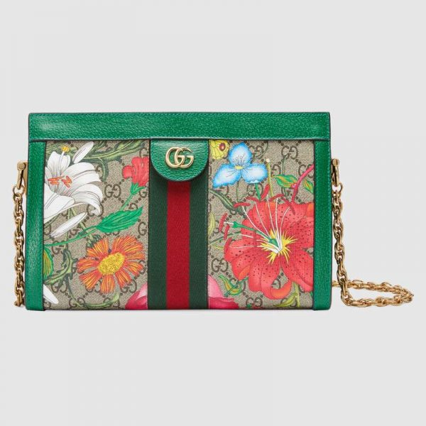 Gucci GG Women Ophidia GG Flora Small Shoulder Bag in GG Supreme Canvas-Green