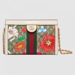 Gucci GG Women Ophidia GG Flora Small Shoulder Bag in GG Supreme Canvas-White